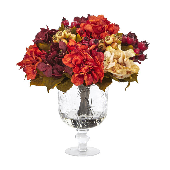 Autumn Hydrangea Berry Artificial Arrangement in Glass Urn - SKU #A1053