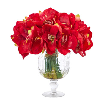 Amaryllis Bouquet Artificial Arrangement in Royal Vase - SKU #A1054