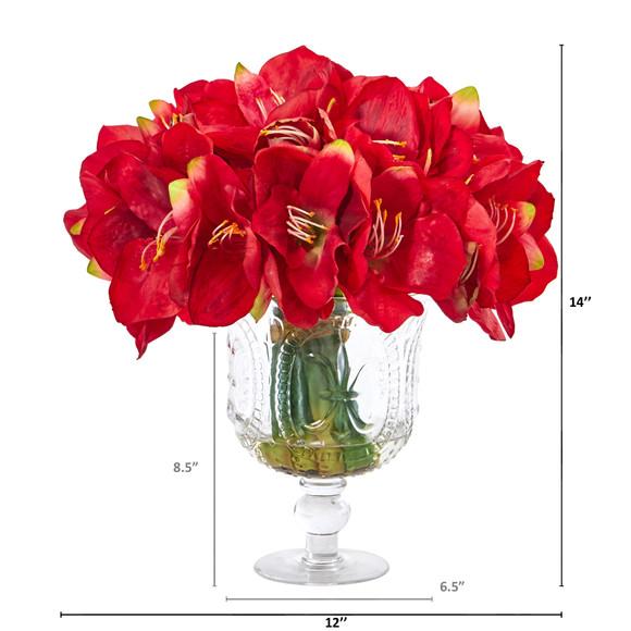 Amaryllis Bouquet Artificial Arrangement in Royal Vase - SKU #A1054 - 1