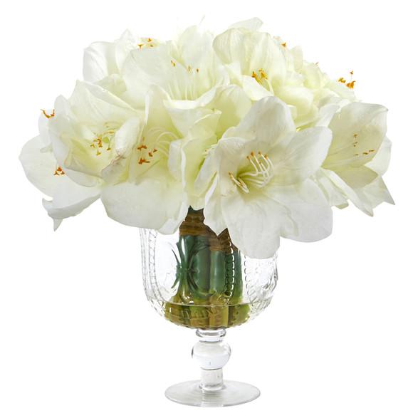 Amaryllis Bouquet Artificial Arrangement in Royal Vase - SKU #A1054 - 2