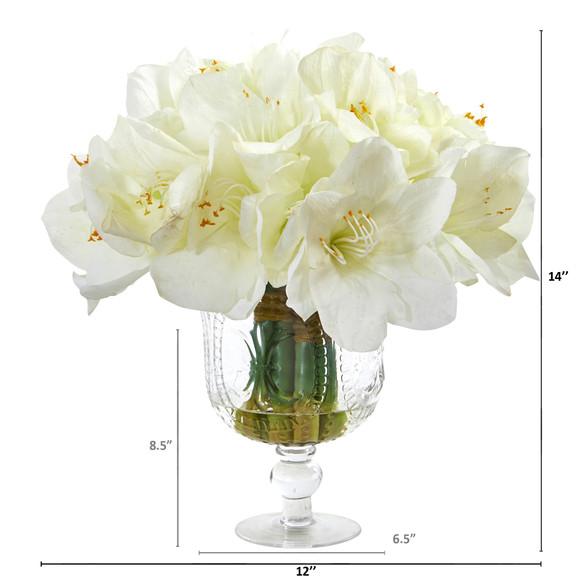 Amaryllis Bouquet Artificial Arrangement in Royal Vase - SKU #A1054 - 3