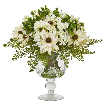 Mixed Daisy Artificial Arrangement in Royal Glass Urn - SKU #A1055-CR