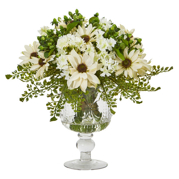 Mixed Daisy Artificial Arrangement in Royal Glass Urn - SKU #A1055 - 2