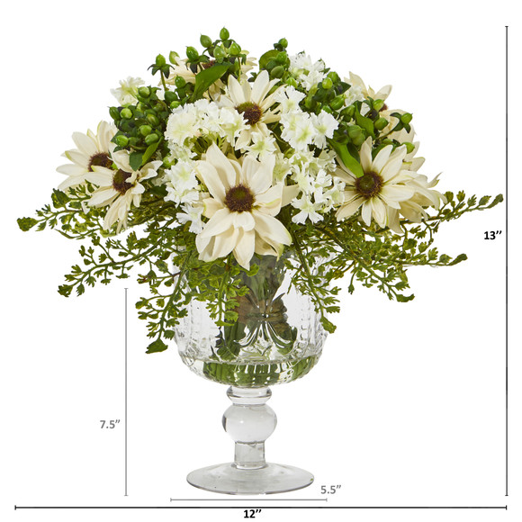Mixed Daisy Artificial Arrangement in Royal Glass Urn - SKU #A1055 - 3
