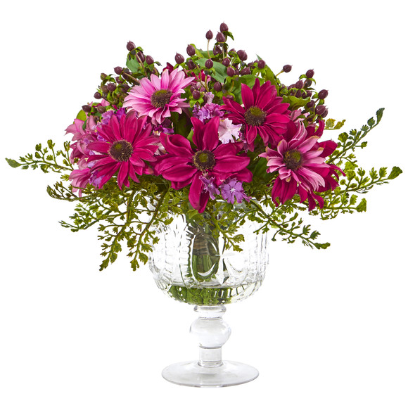 Mixed Daisy Artificial Arrangement in Royal Glass Urn - SKU #A1055