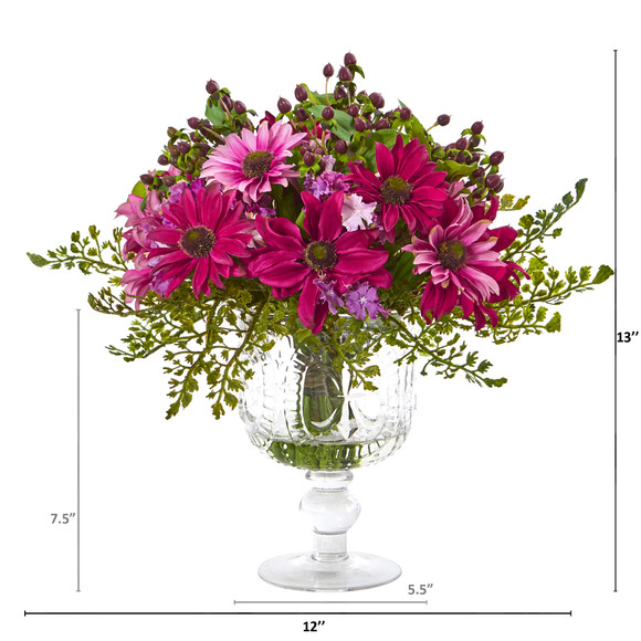 Mixed Daisy Artificial Arrangement in Royal Glass Urn - SKU #A1055 - 1