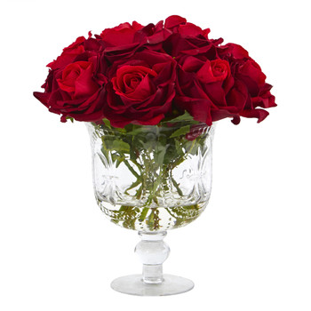 Rose Artificial Arrangement in Glass Urn - SKU #A1056