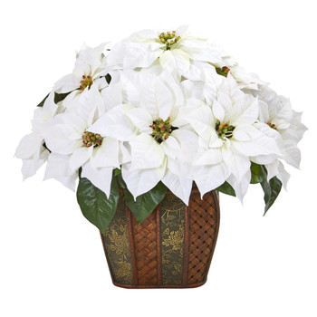 18 Poinsettia Artificial Arrangement in Decorative Planter - SKU #A1057