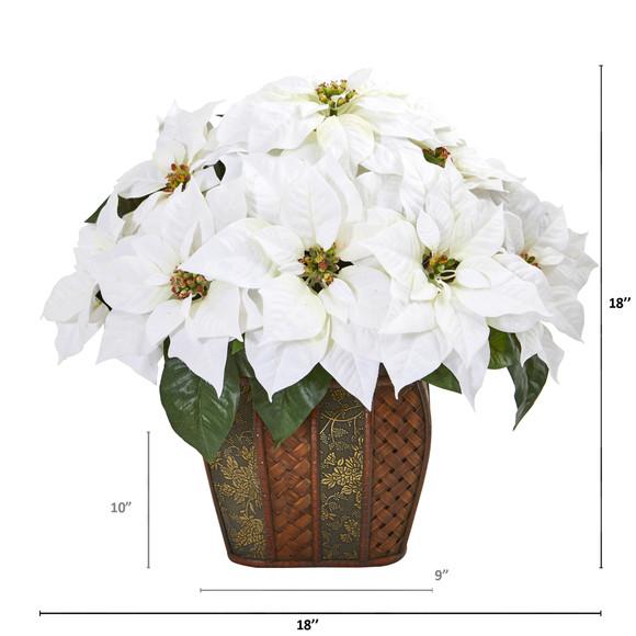 18 Poinsettia Artificial Arrangement in Decorative Planter - SKU #A1057 - 1