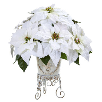 Poinsettia Artificial Arrangement in Metal Planter - SKU #A1059