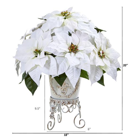 Poinsettia Artificial Arrangement in Metal Planter - SKU #A1059 - 1