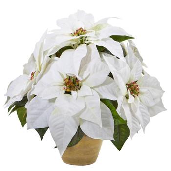 Poinsettia Artificial Arrangement in Ceramic Vase - SKU #A1060
