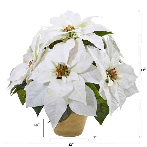 Poinsettia Artificial Arrangement in Ceramic Vase - SKU #A1060 - 1