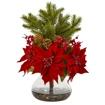 Poinsettia Berry and Pine Artificial Arrangement in Vase - SKU #A1062