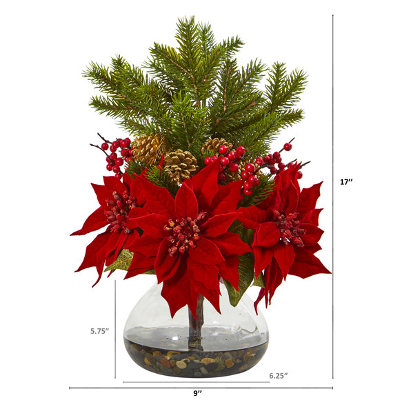 Poinsettia Berry and Pine Artificial Arrangement in Vase - SKU #A1062 - 1