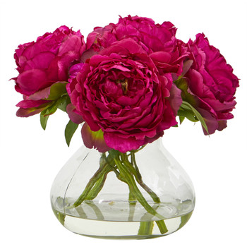 Peony Artificial Arrangement in Glass Vase - SKU #A1063-OR