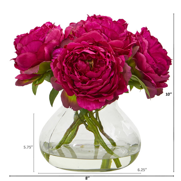 Peony Artificial Arrangement in Glass Vase - SKU #A1063 - 1