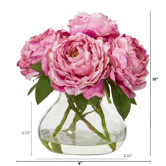 Peony Artificial Arrangement in Glass Vase - SKU #A1063-PK - 1