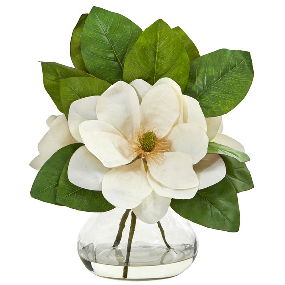 Magnolia Artificial Arrangement in Glass Vase - SKU #A1064
