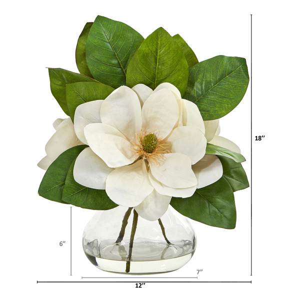 Magnolia Artificial Arrangement in Glass Vase - SKU #A1064 - 1