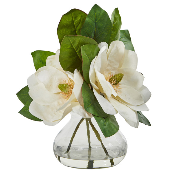 Magnolia Artificial Arrangement in Glass Vase - SKU #A1064 - 2
