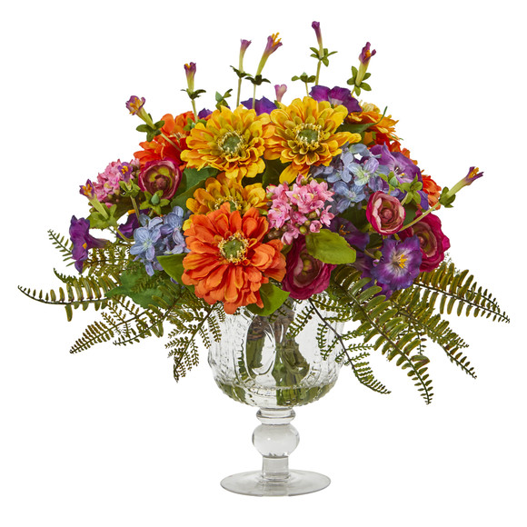 Mixed Flowers Artificial Arrangement in Royal Vase - SKU #A1065