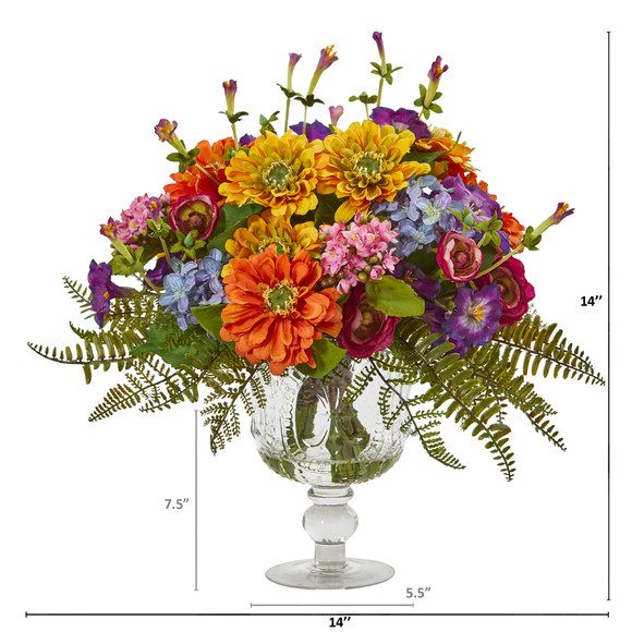 Mixed Flowers Artificial Arrangement in Royal Vase - SKU #A1065 - 1