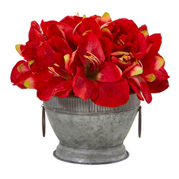 Amaryllis Arrangement in Vintage Bowl with Copper Trimming - SKU #A1066