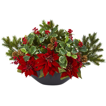 Poinsettia Holly Berry and Pine Artificial Arrangement - SKU #A1068