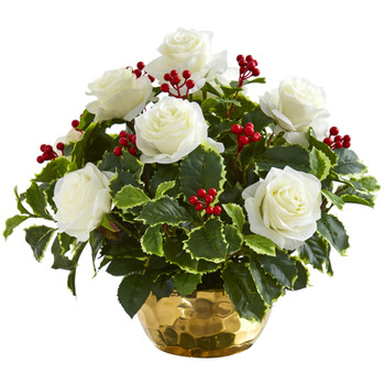 Rose and Variegated Holly Leaf Artificial Arrangement in Gold Bowl - SKU #A1069