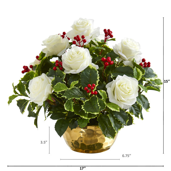Rose and Variegated Holly Leaf Artificial Arrangement in Gold Bowl - SKU #A1069 - 1