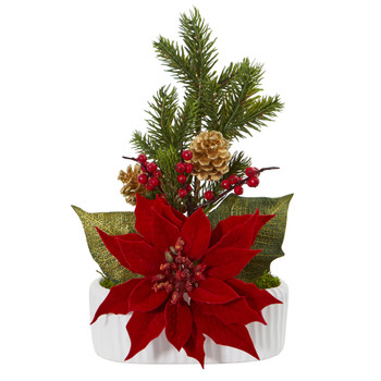 Poinsettia Berry and Pine Artificial Arrangement in White Vase - SKU #A1071