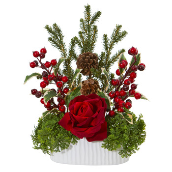 Rose Holly Berry Pine Pinecone Artificial Arrangement in White Vase - SKU #A1072