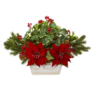 24 Poinsettia Holly Berry and Pine Artificial Arrangement in Planter - SKU #A1073