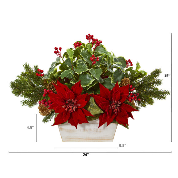 24 Poinsettia Holly Berry and Pine Artificial Arrangement in Planter - SKU #A1073 - 1