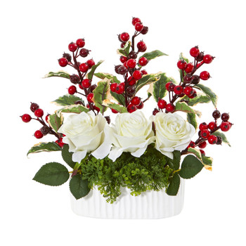 12 Rose and Holly Berry Artificial Arrangement in White Vase - SKU #A1074
