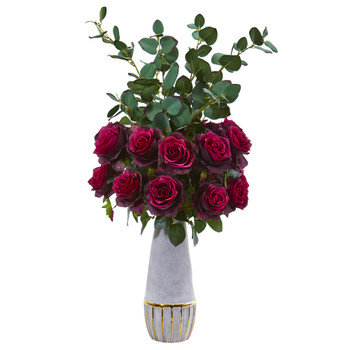 26 Rose and Eucalyptus Artificial Arrangement in Stoneware Vase with Gold Trimming - SKU #A1075-BG