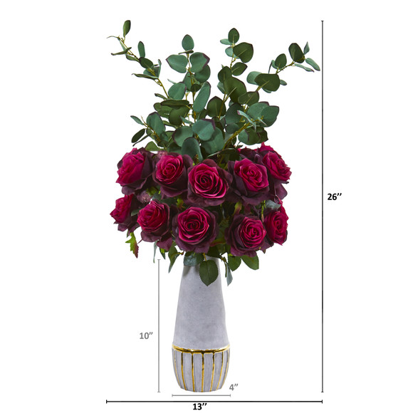 26 Rose and Eucalyptus Artificial Arrangement in Stoneware Vase with Gold Trimming - SKU #A1075-BG - 1