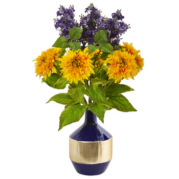 Sunflower and Lilac Artificial Arrangement in Blue and Gold Vase - SKU #A1076