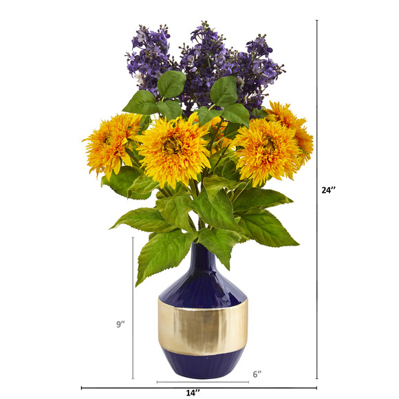 Sunflower and Lilac Artificial Arrangement in Blue and Gold Vase - SKU #A1076 - 1