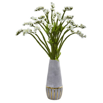 23 Baby Breath Artificial Arrangement in Oval Vase with Gold Trimming - SKU #A1077