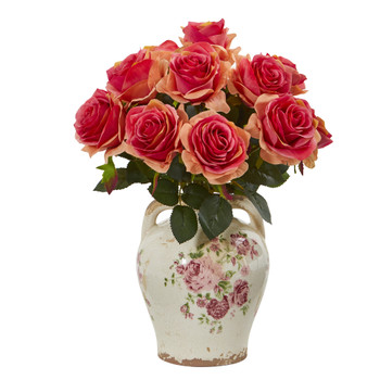 Rose Artificial Arrangement in Flower Print Jar - SKU #A1078