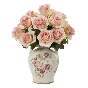 Rose Artificial Arrangement in Flower Print Jar - SKU #A1078-LP