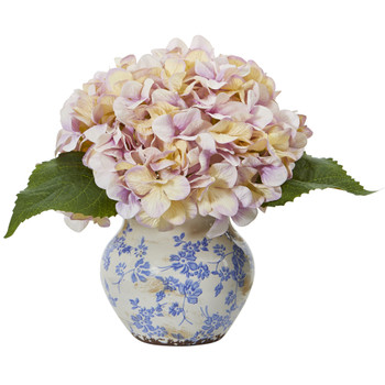 Hydrangea Artificial Arrangement in Floral Vase - SKU #A1080-LV