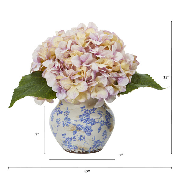 Hydrangea Artificial Arrangement in Floral Vase - SKU #A1080-LV - 1