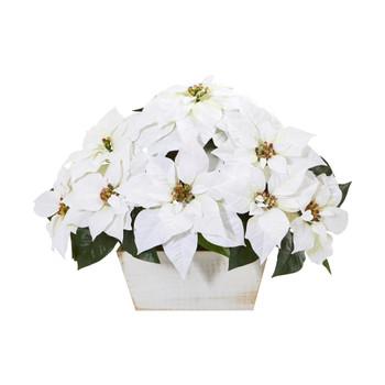 16 Poinsettia Artificial Arrangement in White Wash Planter - SKU #A1081