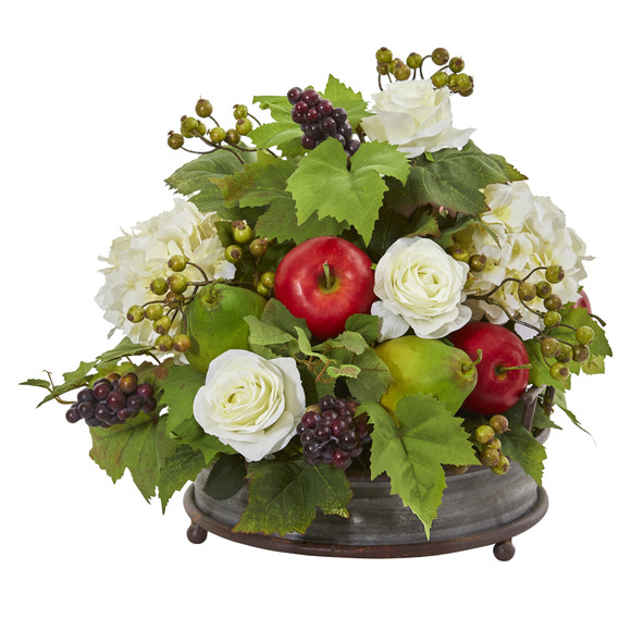 17 Rose Hydrangea and Faux Fruits Artificial Arrangement in Metal Tray - SKU #A1082