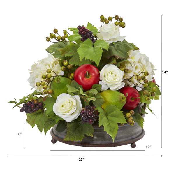17 Rose Hydrangea and Faux Fruits Artificial Arrangement in Metal Tray - SKU #A1082 - 1