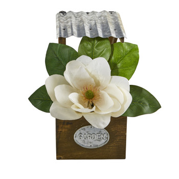 14 Magnolia Artificial Arrangement in Tin Roof Planter - SKU #A1084