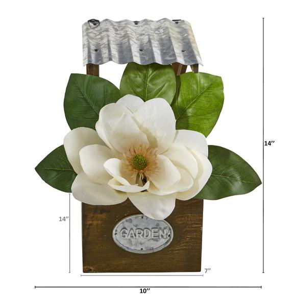 14 Magnolia Artificial Arrangement in Tin Roof Planter - SKU #A1084 - 1